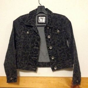 Justice premium denim jacket sz 10 charcoal/black